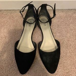 Black Dress Suede Flats With Ankle Strap
